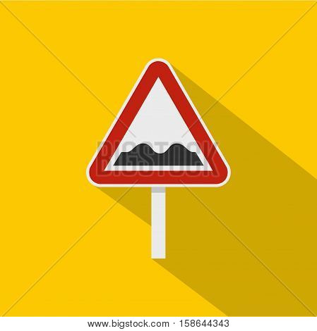 Bumpy road sign icon. Flat illustration of bumpy road sign vector icon for web isolated on yellow background