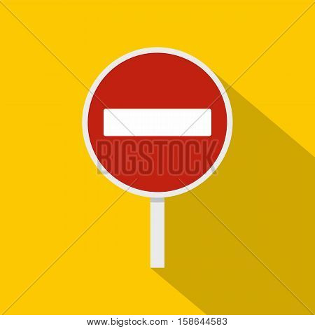No entry traffic sign icon. Flat illustration of no entry traffic sign vector icon for web isolated on yellow background