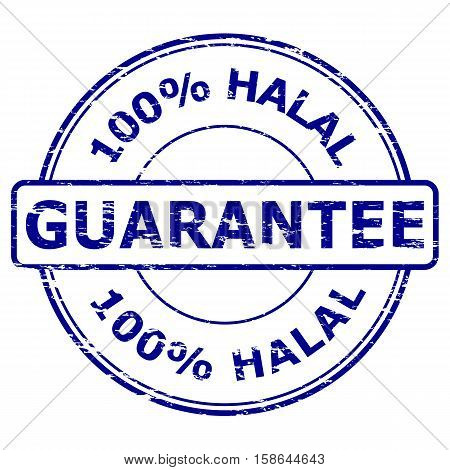 Grunge blue 100% Halal Guarantee rubber stamp