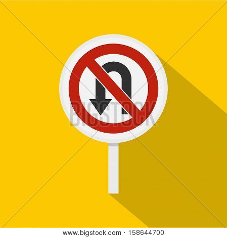 No U turn traffic sign icon. Flat illustration of no U turn traffic sign vector icon for web isolated on yellow background