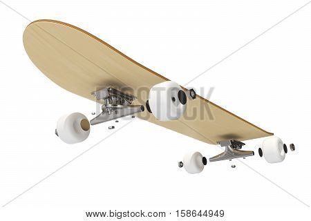 3d rendring disassembled schematic skateboard on white background.