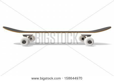 3d rendring disassembled schematic skateboard on white background, side view