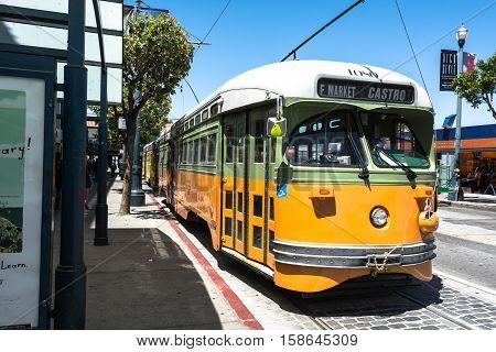 San Francisco,California,USA - July 11, 2015 : Historic streetcar in Jones street