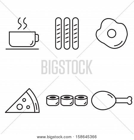 coffee cup sausage fried egg pizza sushi fried chicken set collection outline icons vector with white Background