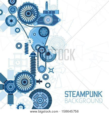 Steampunk futuristic background with mechanical engineering industrial parts details and elements vector illustration