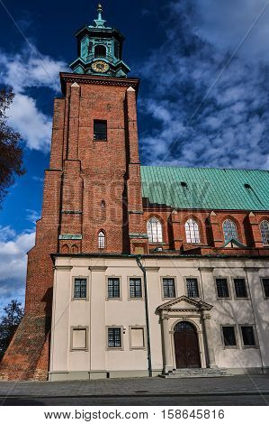 Gothic cathedral with a belfry in Gniezno in Poland