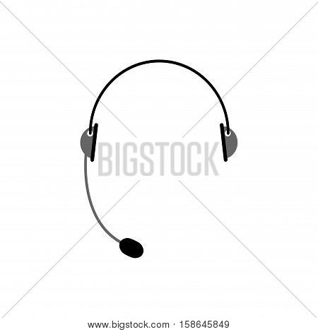 Headset Isolated. Microphone And Headphones On White Background. Cal Center Accessory