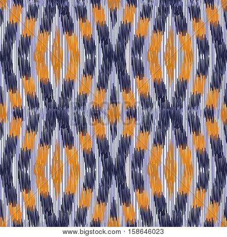 Purple and orange ыeamless Ikat Pattern. Abstract background for textile design wallpaper surface textures wrapping paper.