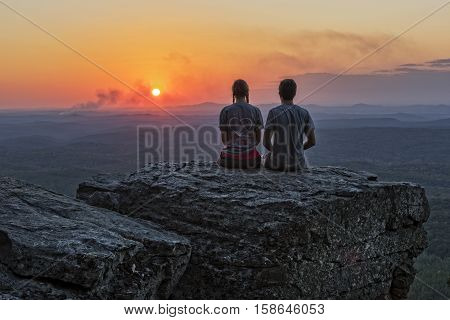 Young Couple Enjoying Sunset At Cheaha Overlook In Cheaha State Park Alabama