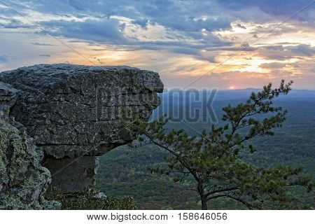 Sunset At Cheaha Overlook In Cheaha Mountain State Park Alabama