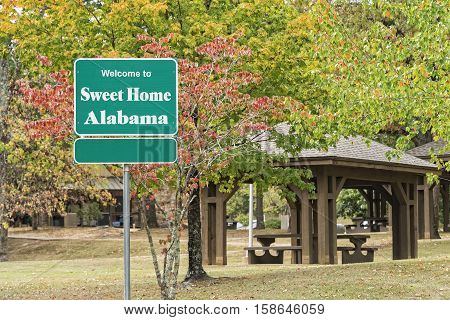 Visitors Welcome Sign For Sweet Home Alabama