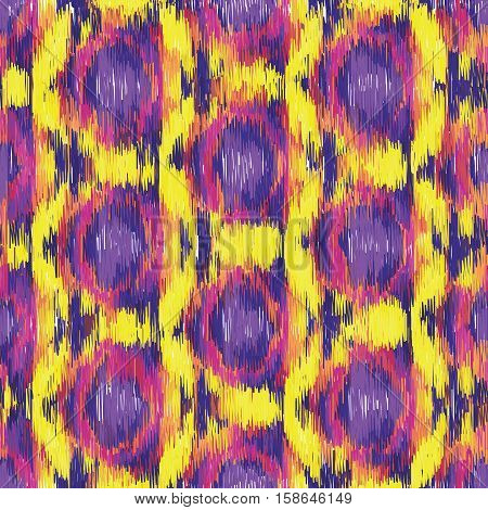 Purple and yellow seamless Ikat Pattern. Abstract background for textile design wallpaper surface textures wrapping paper.