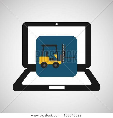 online delivery concept forklift truck cargo vector illustration eps 10
