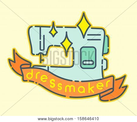 Sewing machine flat design icon dressmaker badge sign