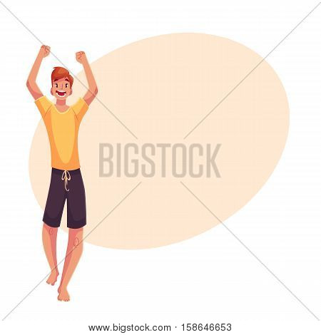Young barefooted man in sun glassses dancing, cartoon style vector illustration isolated on yellow background. Young and red man, teenager, boy dancing at a party in skirt and t-shirt
