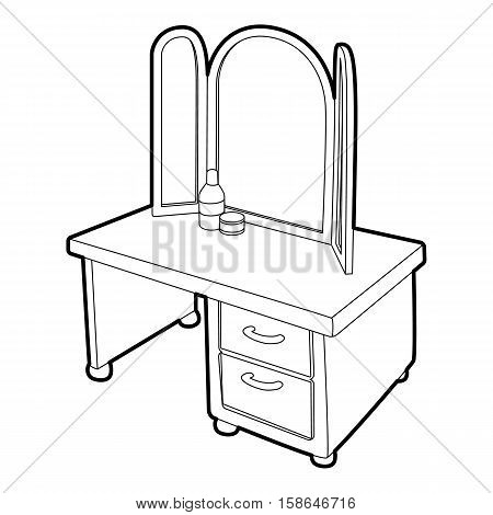 Dressing table with a mirror icon. Isometric 3d illustration of dressing table with a mirror vector icon for web