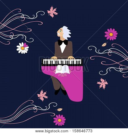 Edvard Grieg Norwegian composer performed his music on piano. Cute cartoon vector illustration.