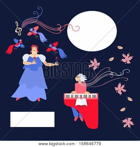The singer and accompanist. Space for text. Cute cartoon vector illustration.