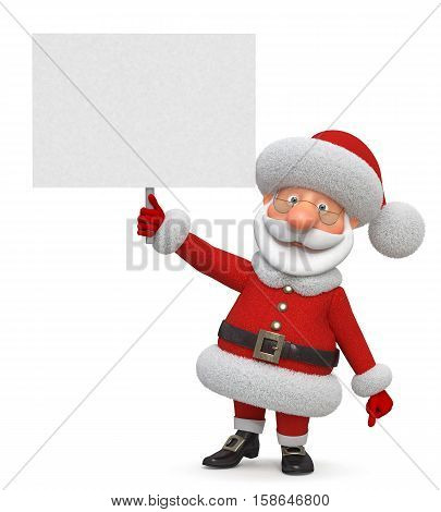 3d illustration New Year's congratulation from Santa Claus