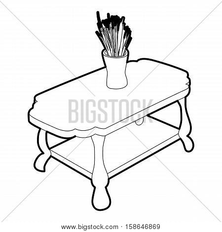 Coffee table with vase icon. Isometric 3d illustration of coffee table with vase vector icon for web