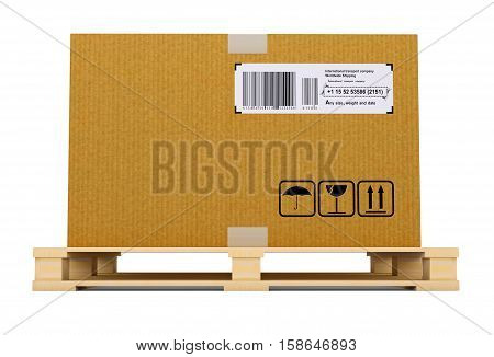 Cardboard box on pallet. Isolated on white background. 3D illustration