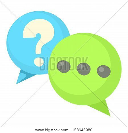 Question and exclamation speech bubbles icon. Cartoon illustration of question and exclamation speech bubbles vector icon for web