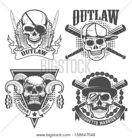 Set of gangster emblems. Skull with two crossed knives on grunge background. Design element for t-short print. Vector illustration