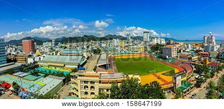 A view over Nha Trang city centre with a kaleidoscope of over saturated colours.
