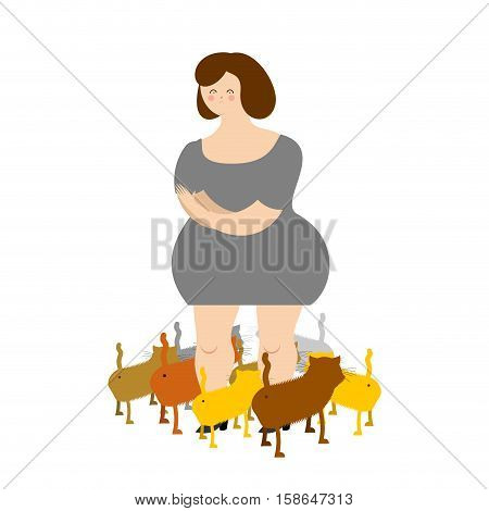Sad Woman With Cats. Many Pets. Illustration Of Sadness And Loneliness