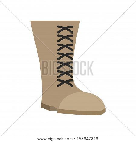 Military Boots Beige Isolated. Army Shoes On White Background. Soldiers Footwear