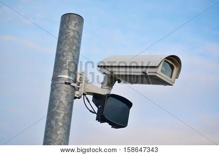Security camera on a metal pole south Bohemia Czech Republic