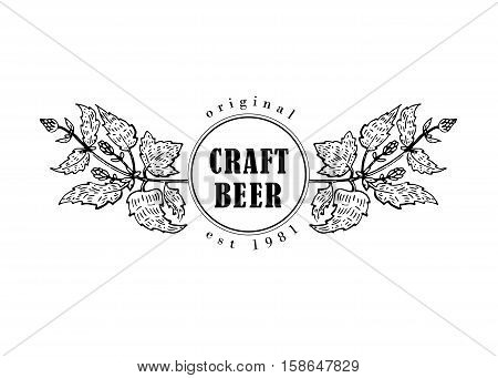 Original vintage retro line art badge logo for beer house, bar, pub, brewing company, brewery, tavern, taproom, alehouse, beerhouse, dramshop restaurant