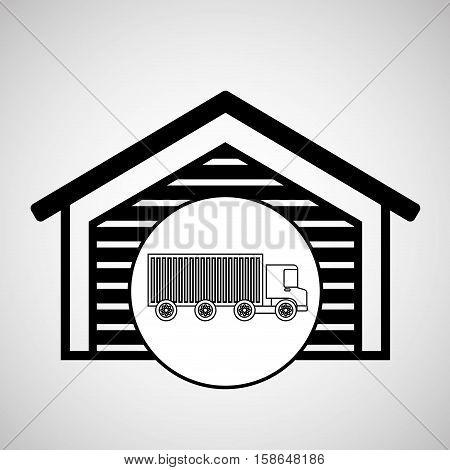 warehouse building truck logistic delivery tranportation vector illustration eps 10