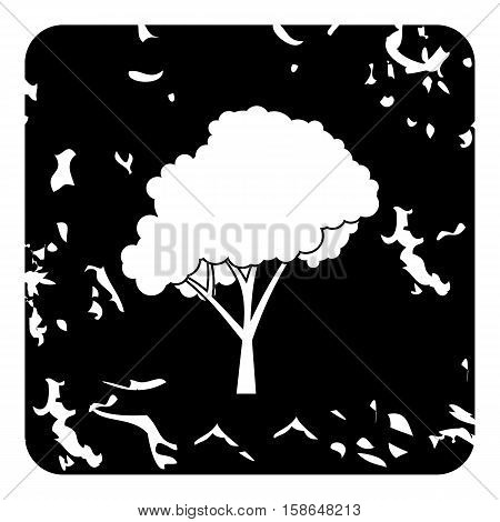 Tree with fluffy crown icon. Grunge illustration of tree vector icon for web design