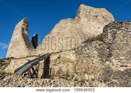 Ruins of Divin castle Slovak republic. Travel destination. Beautiful place. Ancient architecture. Detail photo.