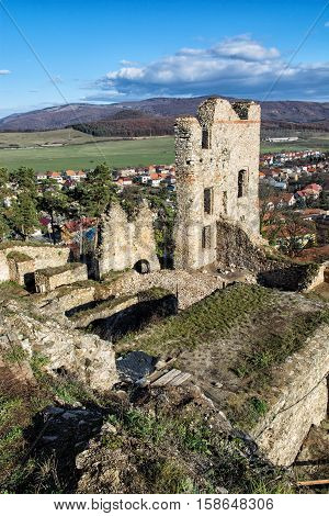 View from the ruins of Divin castle Slovak republic. Travel destination. Beautiful place. Ancient architecture. Vertical composition.