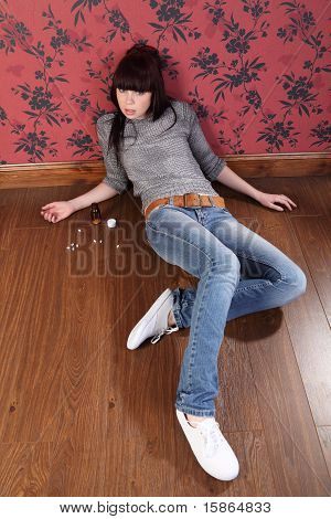 Suicide Attempt From Young Girl Lying On Floor