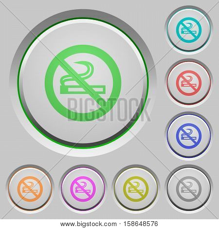 No smoking color icons on sunk push buttons