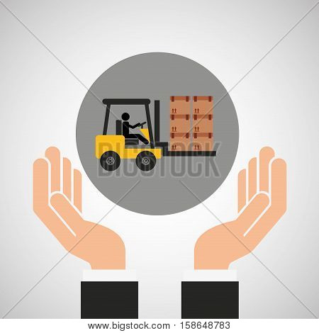 hand delivery service forklift truck boxes graphic vector illustration eps 10