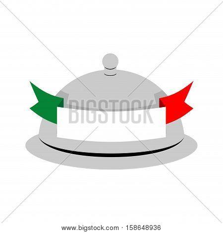 Italy Dish Tray Sign Isolated. Food Italian National Cuisine Logo.