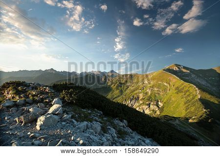 View from the Giewont Peak in the Tatra Mountains.