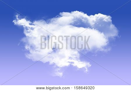 Single white cloud shape isolated over blue background realistic round fluffy cloud 3D rendering illustration