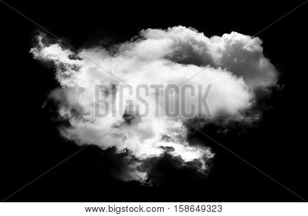 Single white cloud shape isolated over black background realistic round fluffy cloud 3D rendering illustration