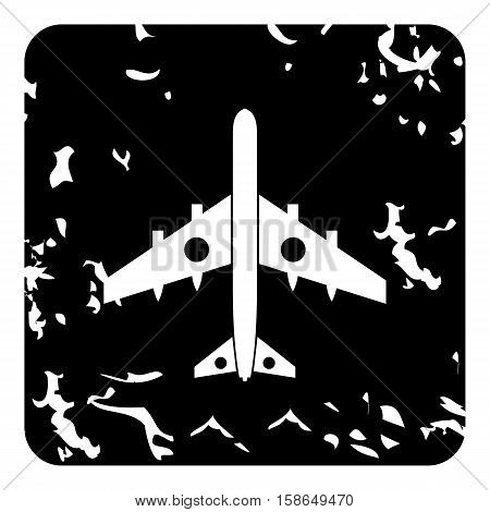 Military aircraft with missiles icon. Grunge illustration of plane vector icon for web design