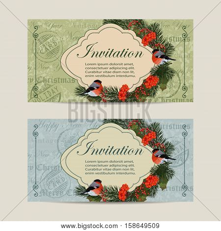 Set of horizontal banners. Christmas wreath with bullfinches, pine branches and rowan berries. Vintage postcard background.