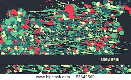 Abstract colorful background. HD format screen size suitable. Wallpaper vector illustration. Red green blue circles backdrop. Copy-space text place.