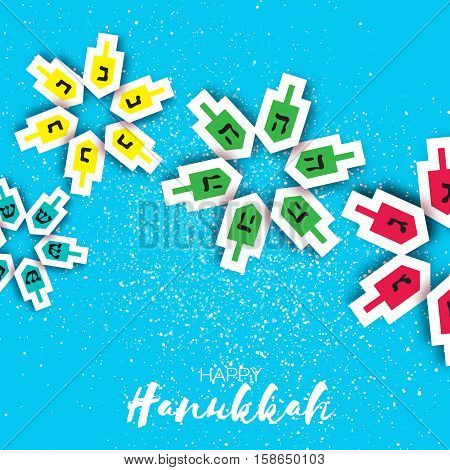 Happy hanukkah with dreidels - spinning top. Jewish holiday on blue background. Vector Illustration.