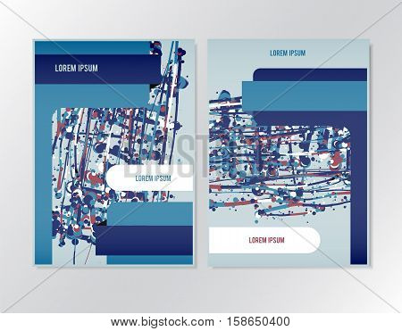 Booklet brochure flyer design template. Page in A4 size format suitable. Vector layout with splatter colorful elements.