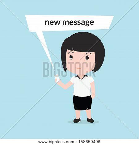 Business Woman Reading A Text Message, Cartoon