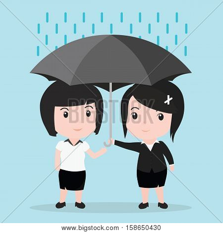 Business Woman With Umbrella Protects Another Woman